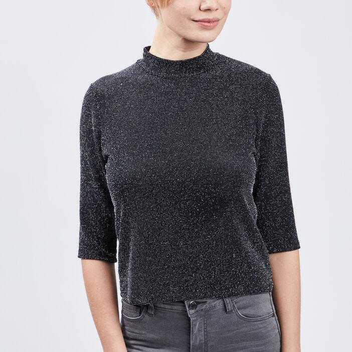 T-shirt manches 3/4 femme couleur argent