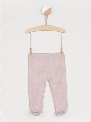 Pantalon imprime avec pieds rose clair fille