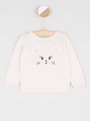 Pull col rond lapin brode rose clair fille