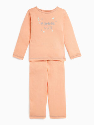 Pyjama 2 pieces imprime chat orange corail fille