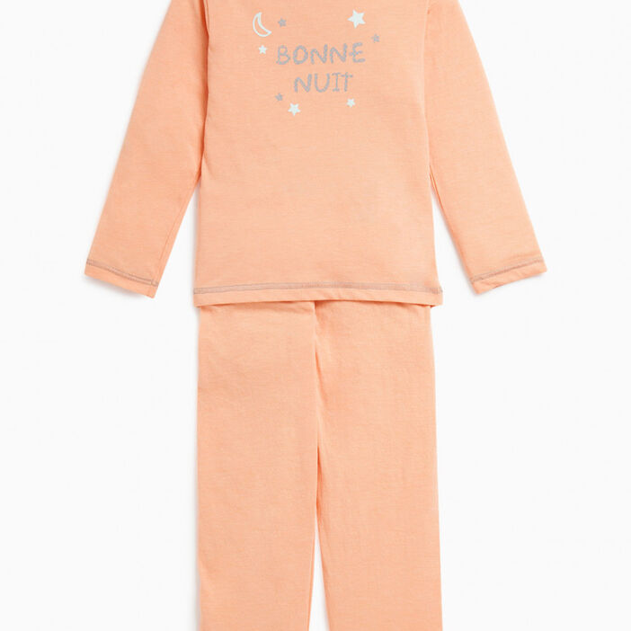 Pyjama 2 pièces imprimé chat fille orange corail