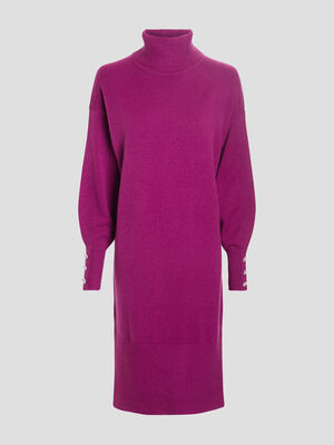 Robe pull droite a col roule violet femme