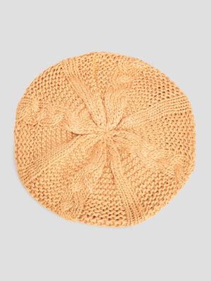Beret tricote avec torsades jaune moutarde femme