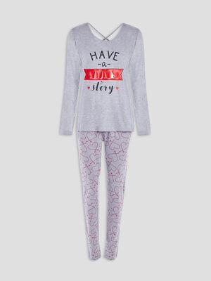 Ensemble pyjama 2 pieces gris femme