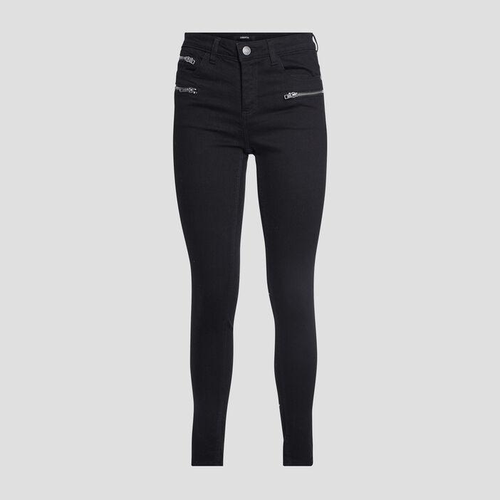 Pantalon skinny détails zippés femme noir