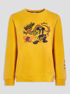 Sweat manches longues Mickey jaune moutarde femme