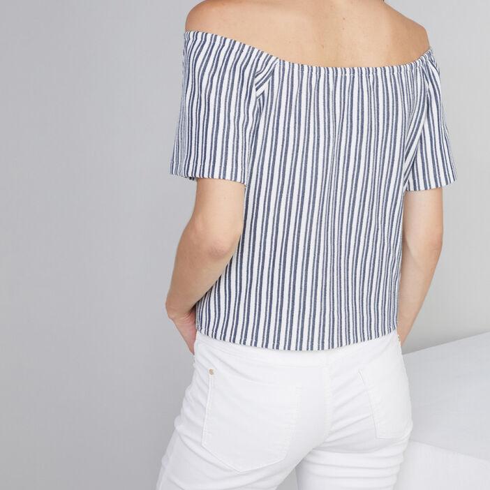 T-shirt rayé épaules dénudées femme ecru