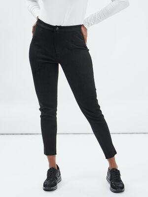 Pantalon skinny en suedine noir femme