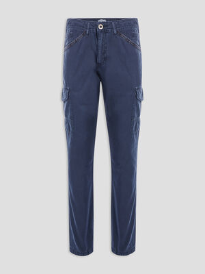 Pantalon cargo en coton uni bleu marine homme