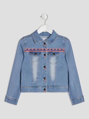 Veste droite en jean Creeks denim bleach fille