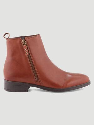 Boots unies avec zip marron femme