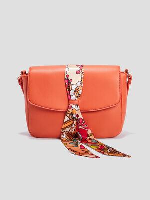 Sac besace avec foulard orange femme