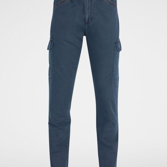 Pantalon cargo en coton uni homme bleu marine