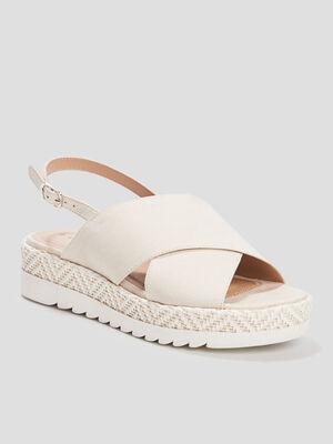 Sandales compensees Creeks blanc femme