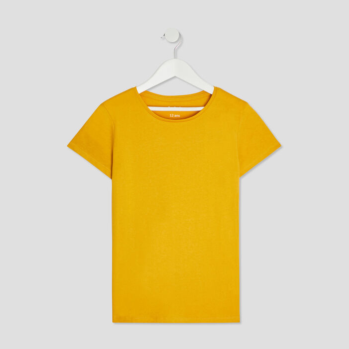 T-shirt manches courtes fille jaune moutarde