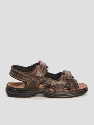 Sandales en cuir Trappeur marron homme