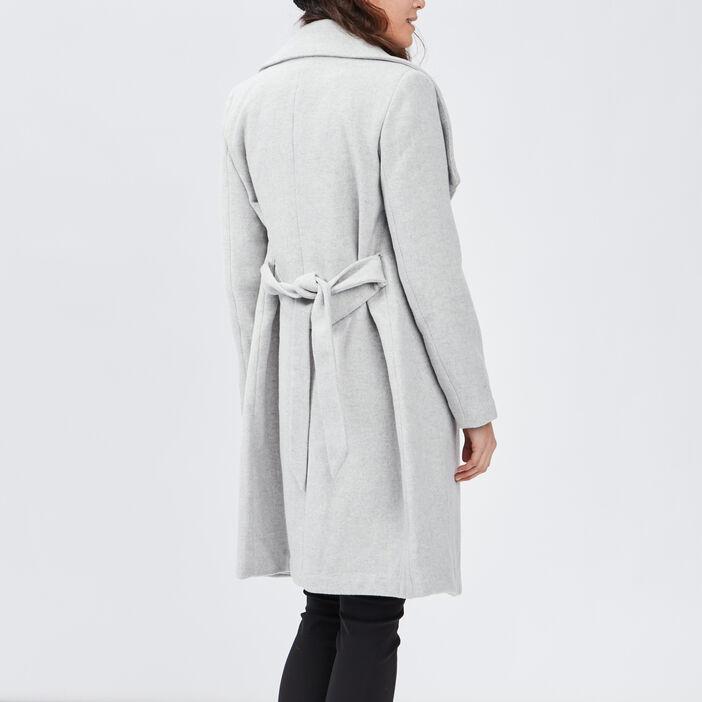 Manteau droit col à revers femme gris