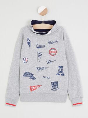 Sweatshirt avec imprimes places devant gris garcon