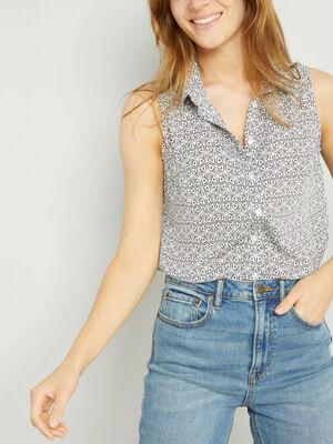 Chemise sans manches motifs geometriques ecru femme