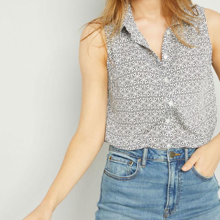 Chemise sans manches motifs géométriques femme ecru