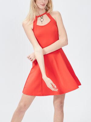 Robe patineuse detail bijoux rouge femme