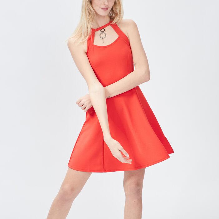 Robe patineuse détail bijoux femme rouge