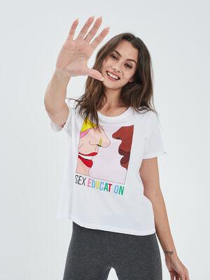 T shirt Sex Education blanc femme