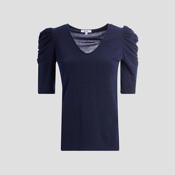 T-shirt manches 3/4 femme bleu