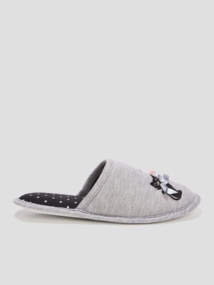Chaussons mules gris femme
