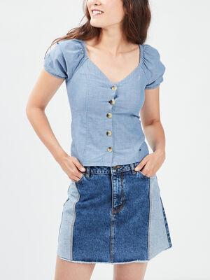 Chemise manches courtes bleu femme
