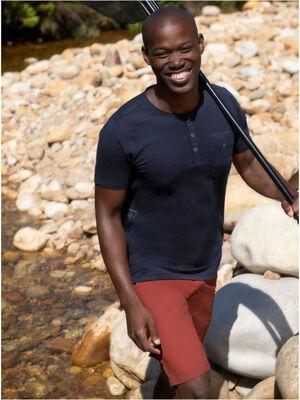 T shirt coton chine col tunisien bleu marine homme