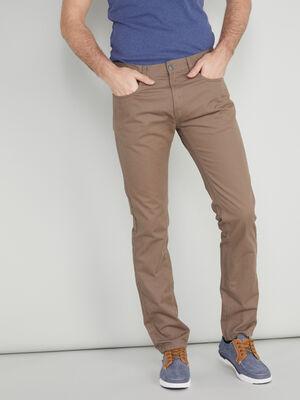 Pantalon droit coton uni taupe homme