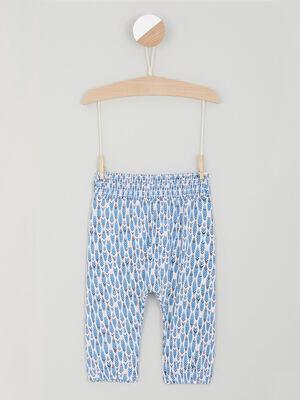 Pantalon imprime taille extensible bleu fille