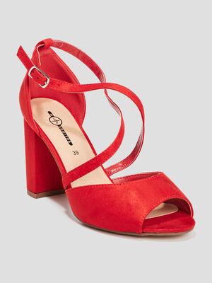 Sandales a bout ouvert rouge femme