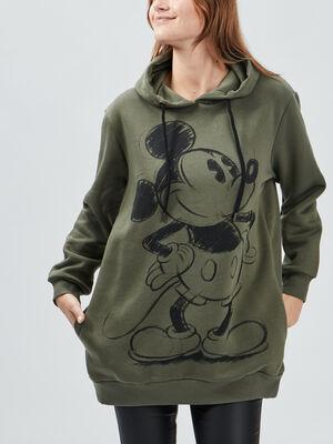 Sweat a capuche Mickey vert kaki femme