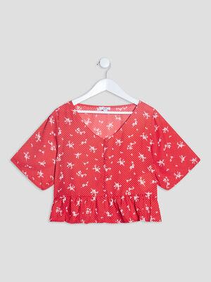 T shirt manches courtes rouge fille