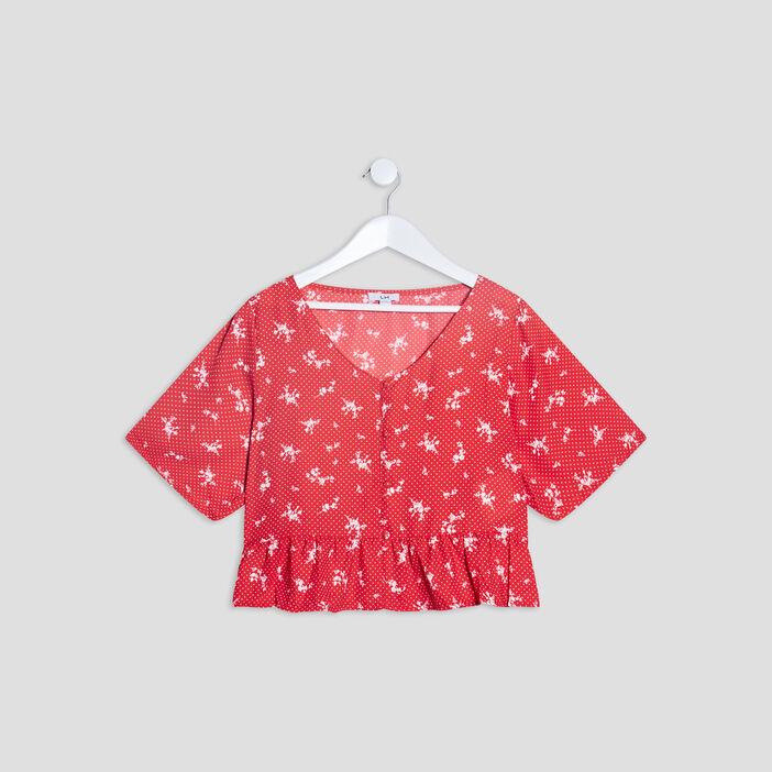 T-shirt manches courtes fille rouge