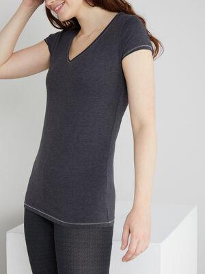 T shirt chine col V gris fonce femme