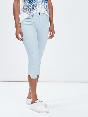 Pantacourt slim en jean bleu ciel femme