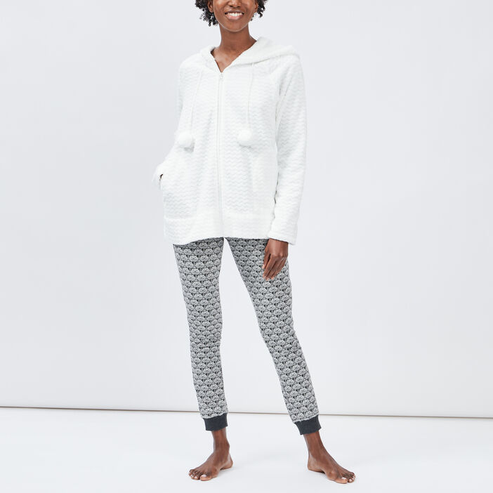 Gilet de pyjama à capuche femme ecru