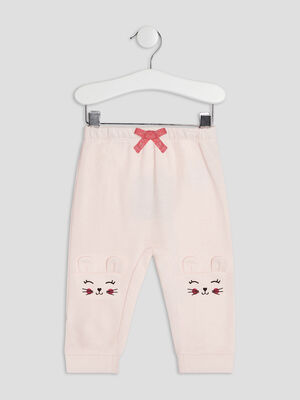 Pantalon droit elastique rose clair bebef