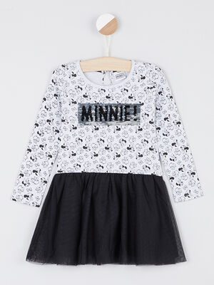 Robe Minnie a manches longues gris fille