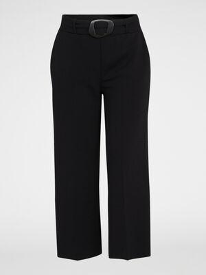 Pantalon large en jersey uni noir femme