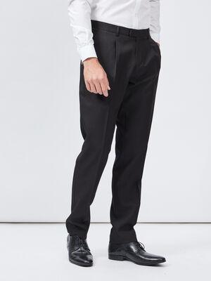 Pantalon droit avec pinces noir homme