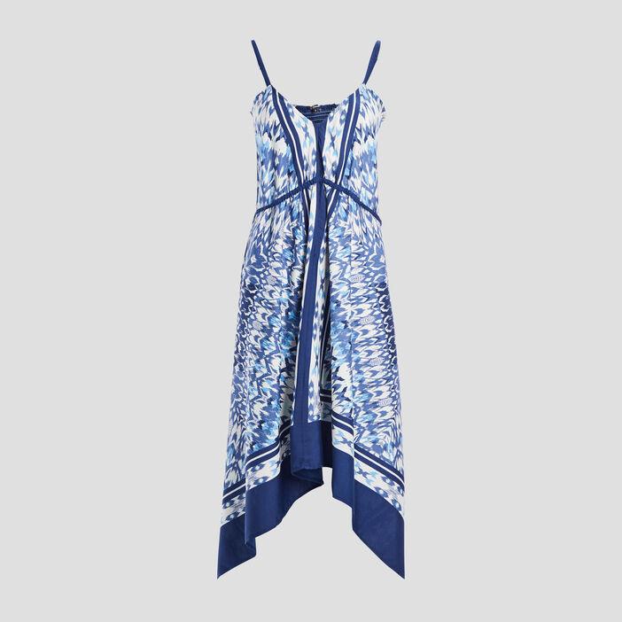 Robe midi évasée asymétrique femme bleu
