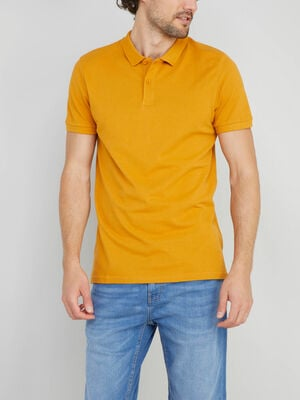 Polo en coton pique uni jaune moutarde homme