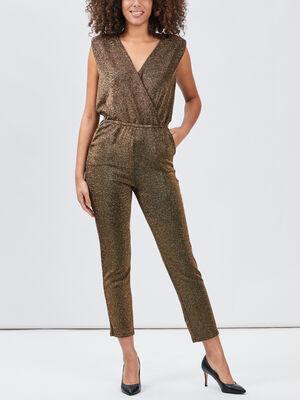Combinaison pantalon droite couleur or femme
