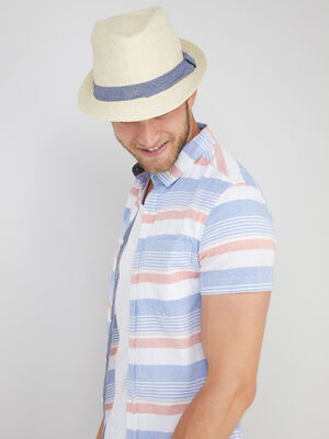 Chapeau trilby tresse galon contraste beige homme