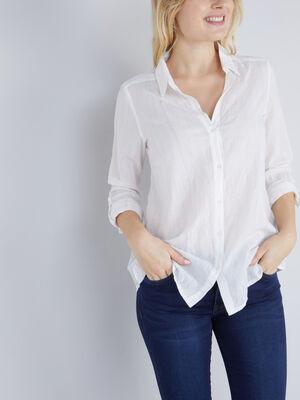 Chemise rayures brillantes blanc femme