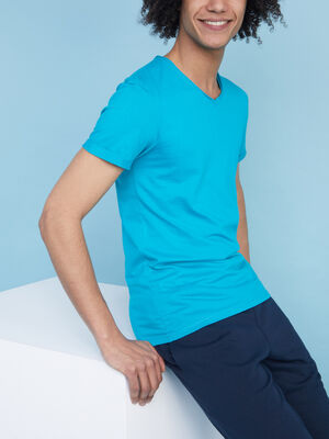 T shirt manches courtes col rond vert homme